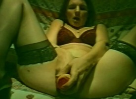 Naughty tyro in stockings plays helter-skelter a dildo and fucks a fixed dig up