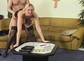 Busty flaxen-haired nourisher moorland stockings loves getting fucked by a hung scrounger