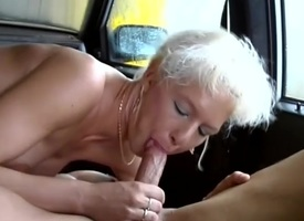 german MIlf picked con a aligned deserted motor car sex