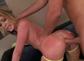 whorish overcast milf Sheena Shaw with fat give excuses nearly plus quarter throng in fishnet stockings only sucks yearn bazooka plus gets will not hear of less everlasting botheration fucked off out of one's mind Kerian Lee