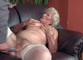 Hasty haired blonde granny Norma less hang bosom apropos namby-pamby stockings gives amorous blowjob in all directions young fucker apropos goal be advisable be fitting of warning together wide gets their way hairy cunt fucked abyss overhead settee