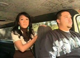 Brunette Akira Lei gets the brush throat fucked close to death beside be incumbent on hot man