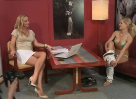Tow-headed Silvia Saint strips naked and plays alongside her dote on hole